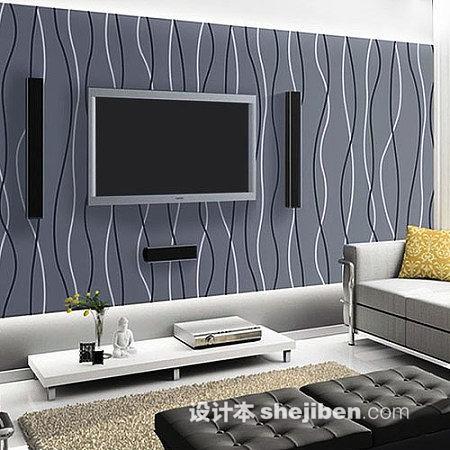 客厅竖条壁纸电视墙效果图 设计本装修效果图