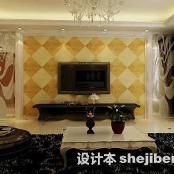 菱形瓷砖电视墙造型