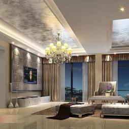 现代清新欧式风格客厅吊顶效果图