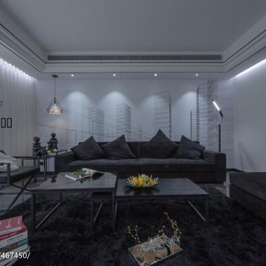 黑白现代风格客厅背景墙装修图片