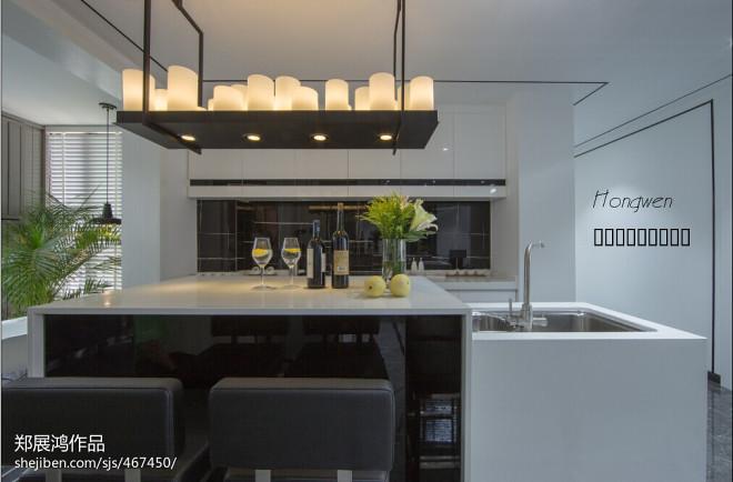 现代黑白调开放式厨房装修效果图大全2