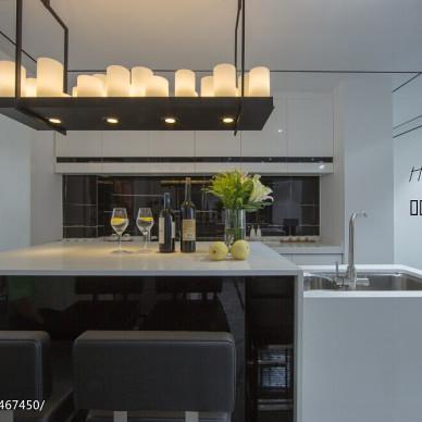 现代黑白调开放式厨房装修效果图大全2017图片