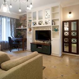美式风格家装客厅背景墙效果图