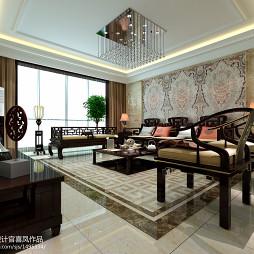 石材拼花沙发背景墙中式装修图片