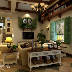 美式错层客厅照片墙书架装修效果图