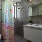 现代简约风不锈钢浴室柜浴帘装修效果图大全