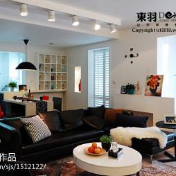 欧式三居家装室内设计客厅黑色沙发装修效果图欣赏