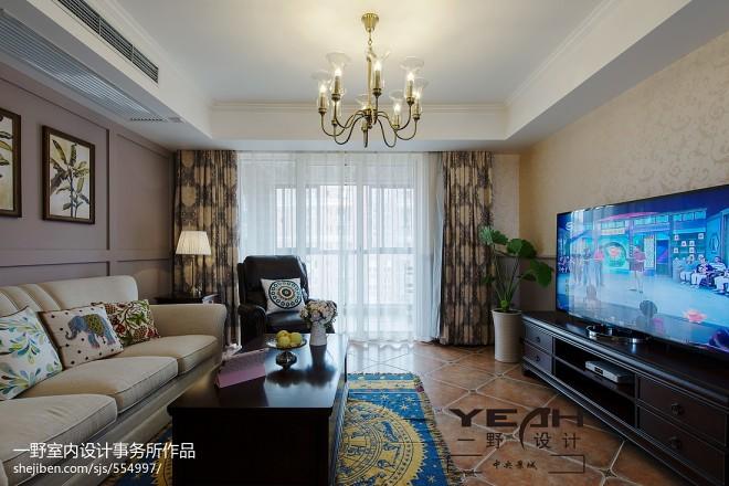 休闲美式客厅背景墙装修图片