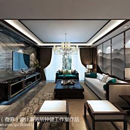 中式客厅电视背景墙落地窗装修效果图大全