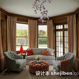 美式休闲区沙发效果图