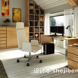 房屋装修样板间书房实木家具效果图欣赏