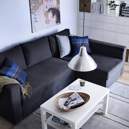 黑色客厅拐角沙发装饰图片