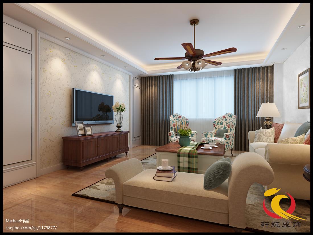 美式风格电视背景墙_复式美式电视背景墙 – 设计本装修效果图