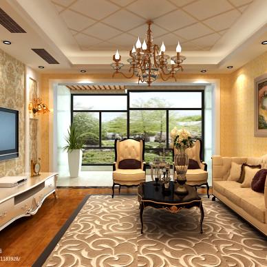 三居室欧式布艺沙发装修图片
