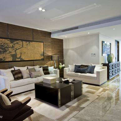 黑白褐客厅东南亚装修效果图