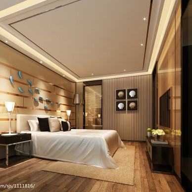 复式楼卧室现代灯饰装修效果图