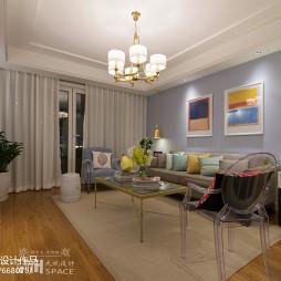 美式客厅窗帘装修图