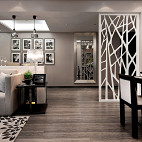 现代风格样板房客厅隔断装修效果图大全2017图片