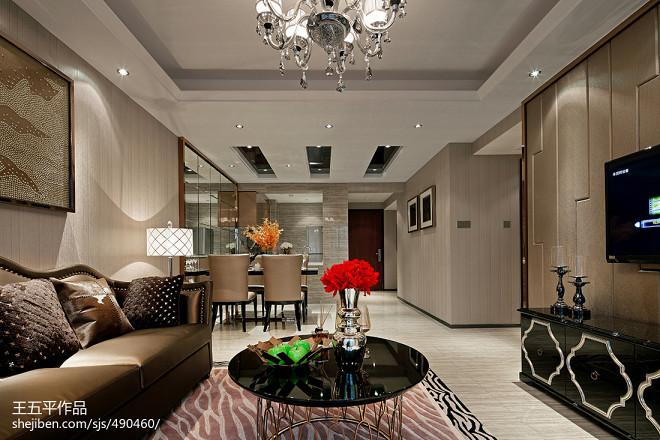 现代风格样板房客厅吊顶装修图片