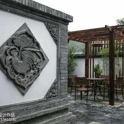 中式花园浮雕壁画装修图