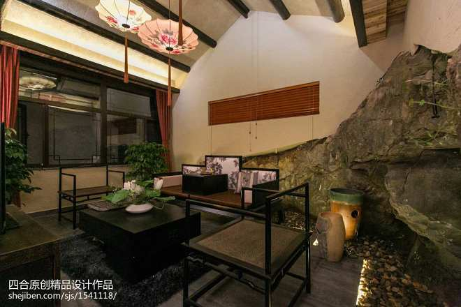 中式风格客厅背景墙装修效果图大全20