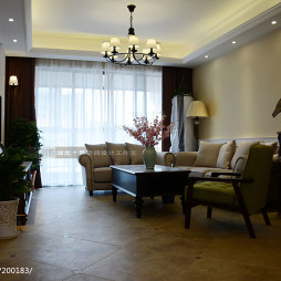 美式风格四居室客厅窗帘图片