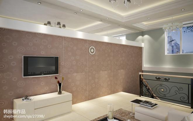 复式楼家庭电视墙装修图片