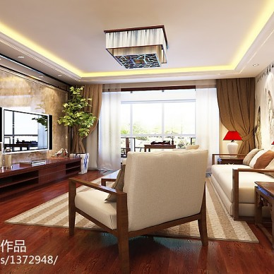 新中式家居搭配效果图