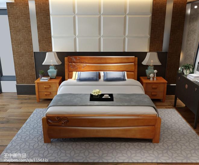 实木床系列,实木床效果图,实木家具3