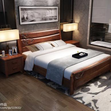 实木床系列,实木床效果图,实木家具3D效果图,**家具3d效果图_1571876
