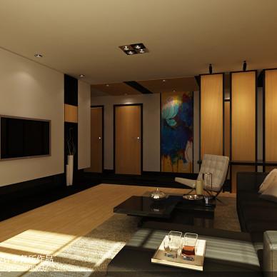 冷色调现代简约客厅装修效果图图片