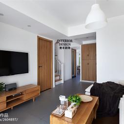 现代北欧风格客厅壁挂式电视效果图