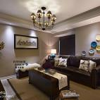 简约美式客厅深色家具装修效果图