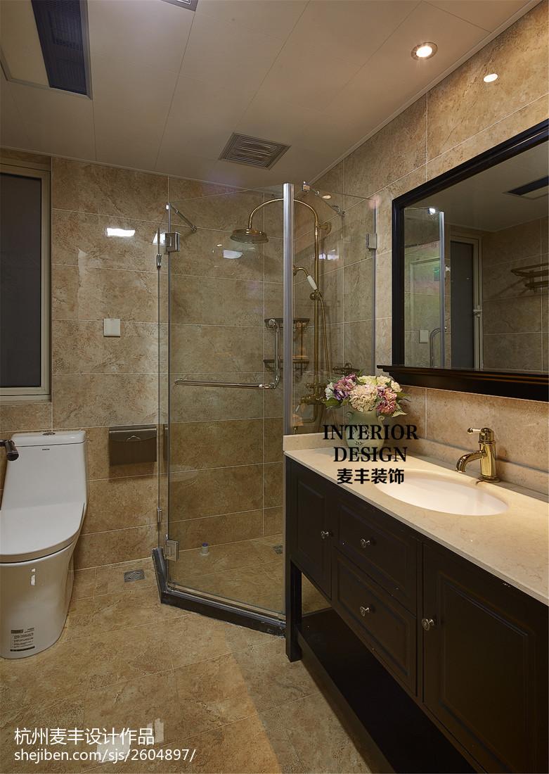 国际资讯_简约美式卫生间玻璃淋浴房设计 – 设计本装修效果图