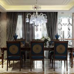 欧式别墅餐厅装修长餐桌效果图