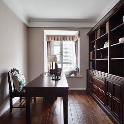 简约美式书房组合书柜效果图