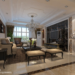 欧式豪华客厅羊毛地毯效果图