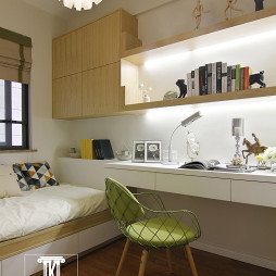 现代书房置物架家装效果图
