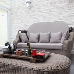复式楼现代休闲区藤艺沙发效果图