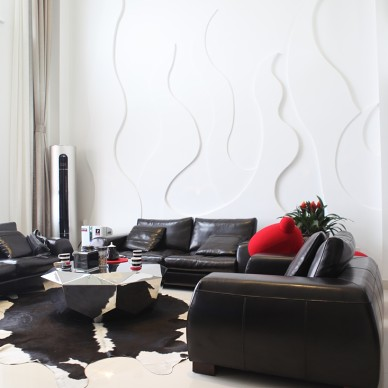 复式现代客厅沙发背景墙装修设计大全