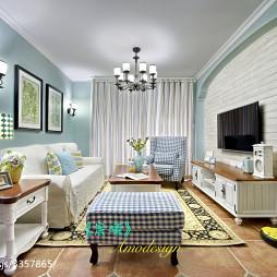美式田园客厅装修设计效果图