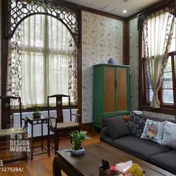 现代中式别墅客厅窗户装修设计