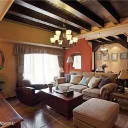 美式田园客厅吊顶装修设计