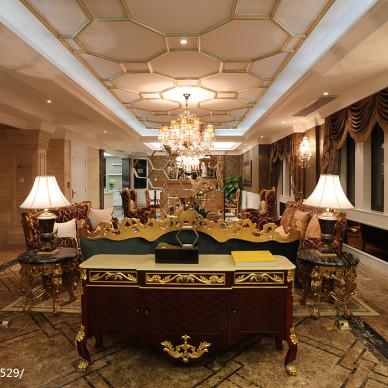 别墅混搭风格客厅吊顶装修设计