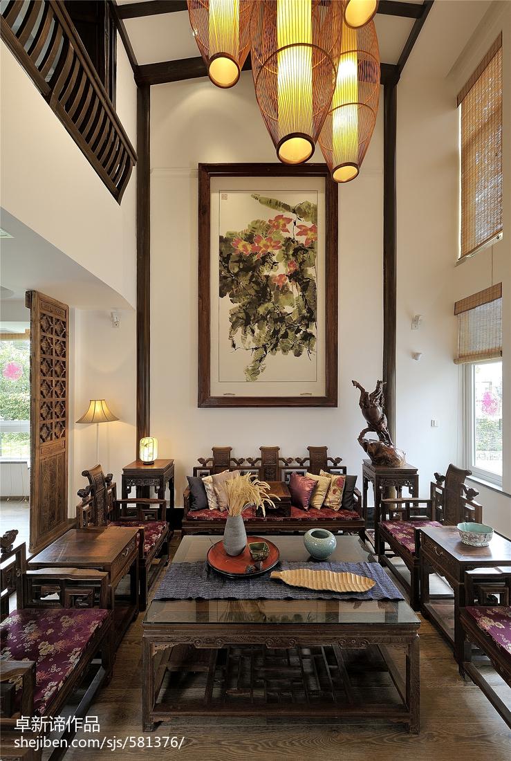 中式风格餐厅背景墙_乡村中式别墅客厅背景墙设计 – 设计本装修效果图