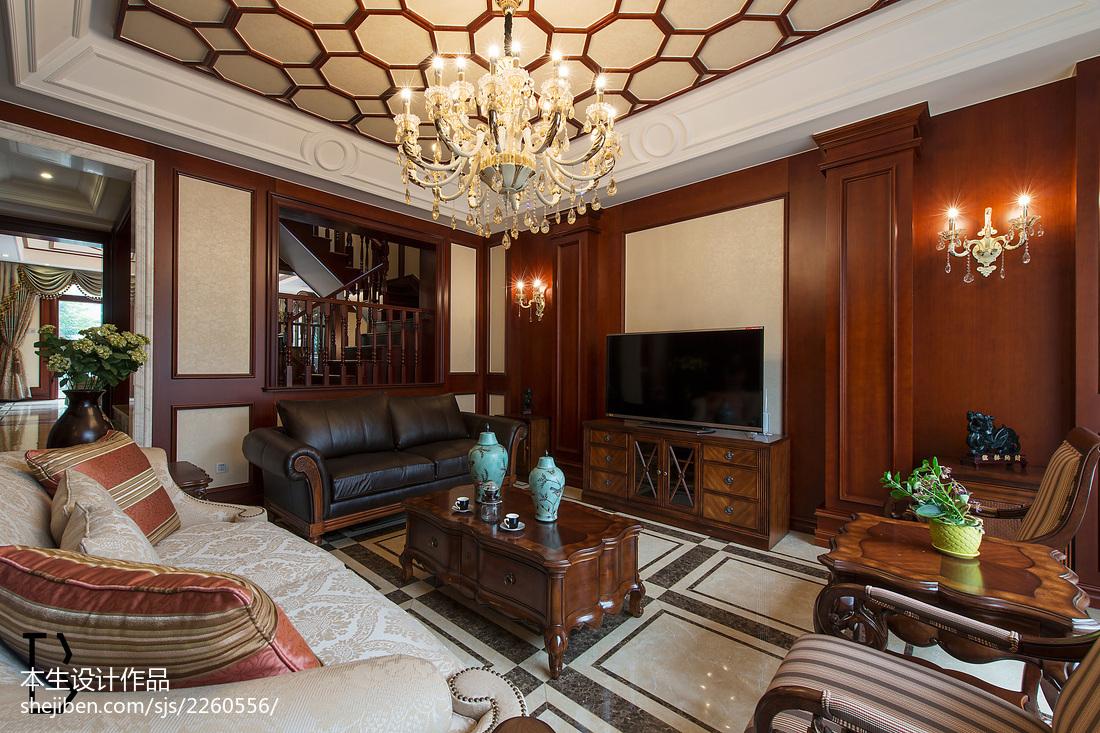 美式风格电视背景墙_美式别墅客厅电视背景墙设计 – 设计本装修效果图