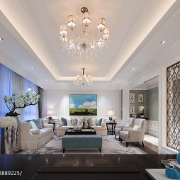 混搭风格样板房客厅隔断墙设计