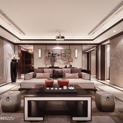 中式双拼别墅客厅背景墙设计效果图