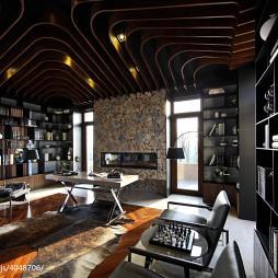 混搭书房博古架样板间设计