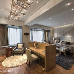 混搭风格样板间卧室隔断设计